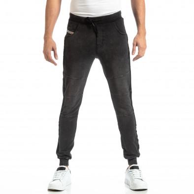 Рокерски мъжки Jogger в цвят черен деним it261018-48 3