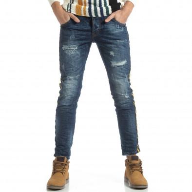 Намачкани сини дънки с ярък кант it051218-15 3