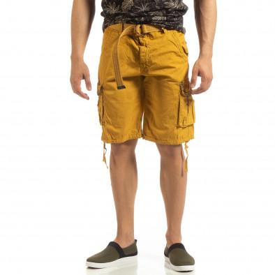 Мъжки карго бермуди камел с колан it090519-40 3