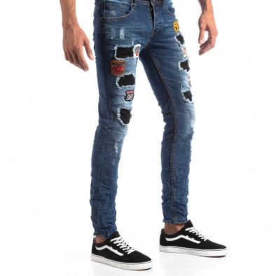 Мъжки сини Slim Jeans с апликации и кръпки it260918-1 4