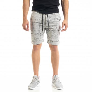 Мъжки трикотажни шорти сиво и черно it050620-17 2