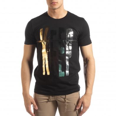 Черна мъжка тениска златист принт it150419-92 2