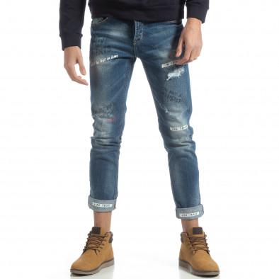 Мъжки сини дънки с принт и маншети it051218-7 3