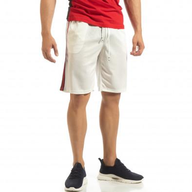Ултралеки мъжки шорти в бяло с кантове it090519-49 2