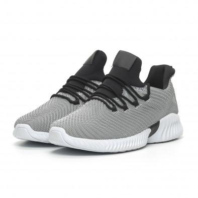 Мъжки ултралеки маратонки Wave дизайн черно и бяло it100519-5 3