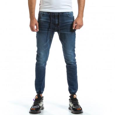 Мъжки сини дънки с ластик на кръста и крачолите it070921-6 2