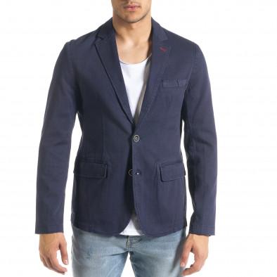 Slim fit синьо сако от памучно пике it240420-4 3