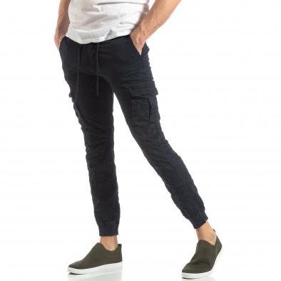 Син карго панталон с трикотажни маншети it210319-21 2