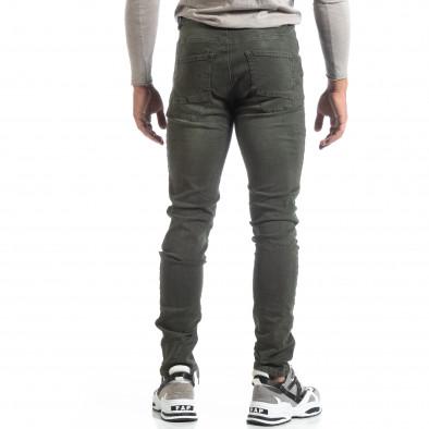 Slim fit мъжки зелени дънки с прокъсвания it170819-39 4