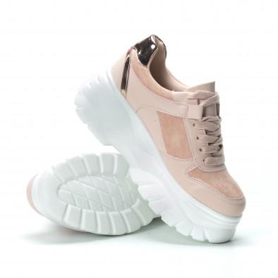 Chunky дамски маратонки в розово на платформа it250119-50 5