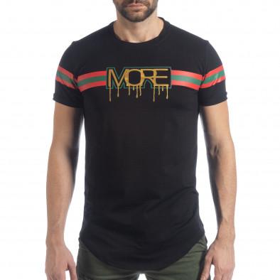 Мъжка черна тениска More Life Stripe it040219-118 3