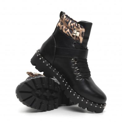 Дамски боти Trekking design в черно и леопард it260919-85 4