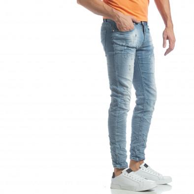 Slim fit мъжки прокъсани дънки светъл деним it040219-12 2