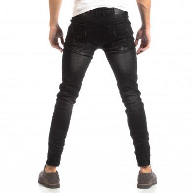 Намачкани мъжки дънки в черно Slim fit it261018-9 4