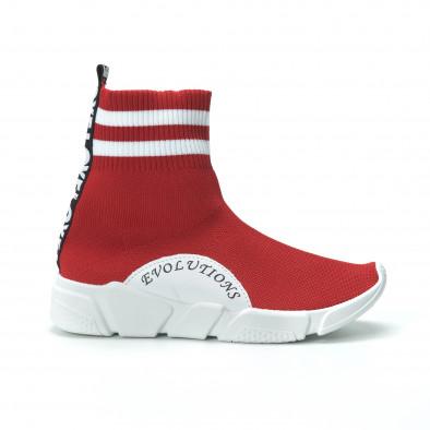 Червени дамски маратонки тип чорап с акценти it250119-58 3