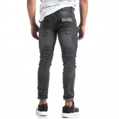 Мъжки намачкани дънки Slim fit в черно it170819-46 3
