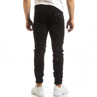 Скъсани мъжки черни дънки с пръски боя it090519-3 4