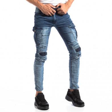 Мъжки сини Slim Cargo дънки с кръпки it250918-17 3
