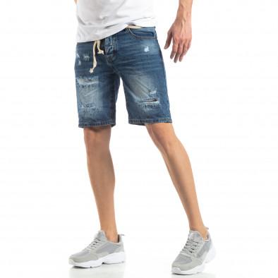 Мъжки сини къси дънки с прокъсвания it210319-30 2