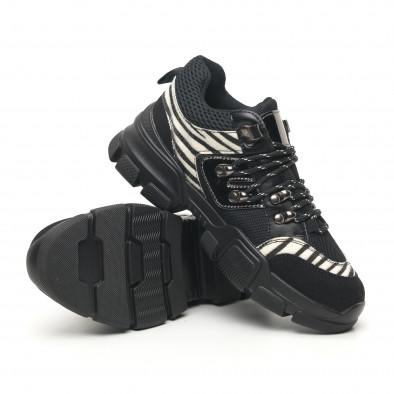 Дамски спортни обувки тип Hiker черно и зебра it281019-28 5