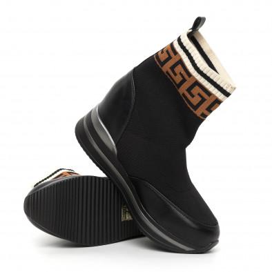 Дамски черни боти чорап с вградена платформа it130819-41 4