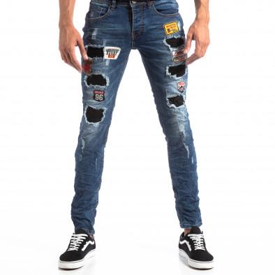 Мъжки сини Slim Jeans с апликации и кръпки it260918-1 3