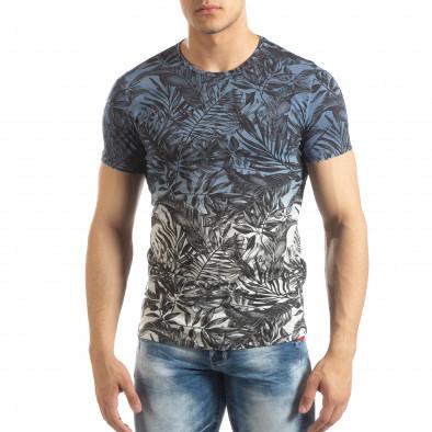 Мъжка синя тениска с преливане Leaves мотив it150419-106 3