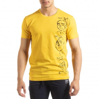 Жълта мъжка тениска забавен принт it150419-56 2