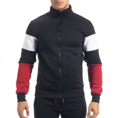 Черен ватиран мъжки спортен комплект Biker style it071119-50 4