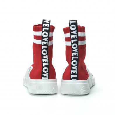 Червени дамски маратонки тип чорап с акценти it250119-58 4