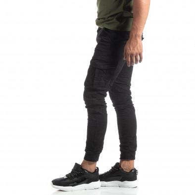 Мъжки намачкан панталон Cargo в черно it170819-17 2