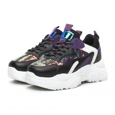 Черни дамски маратонки с лилави акценти it260919-55 3