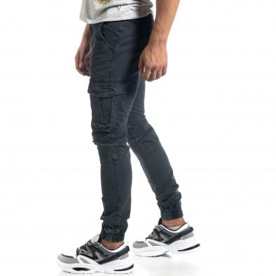 Мъжки рокерски карго панталон в сиво it041019-41 2