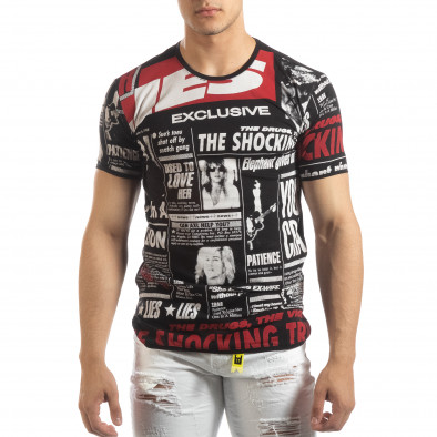 Мъжка тениска Exclusive News в черно it150419-87 2