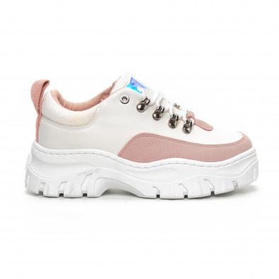 Ултрамодерни дамски маратонки в бяло и розово it240419-43 2