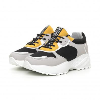 Олекотени дамски маратонки в сиво и жълто it130819-62 3