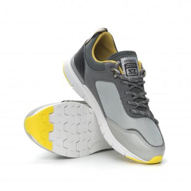 Комбинирани мъжки маратонки в сиво и жълто it150319-28 5