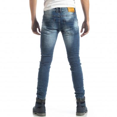 Сини мъжки дънки Slim fit с прокъсвания it051218-5 4