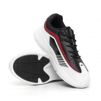 Черно-бели мъжки маратонки с лачени части it130819-19 4