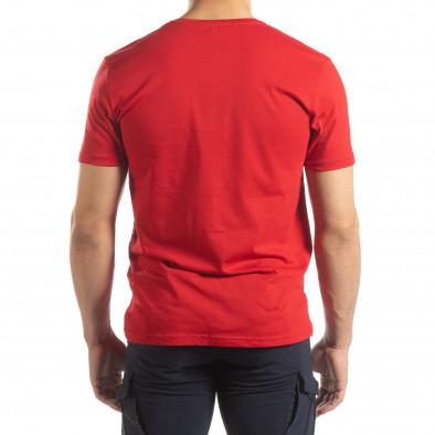 Червена мъжка тениска сребрист принт it150419-91 3