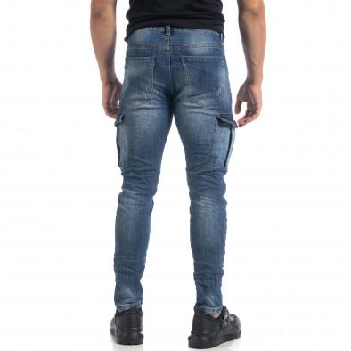 Мъжки намачкани Cargo Jeans Slim fit в синьо it071119-21 4