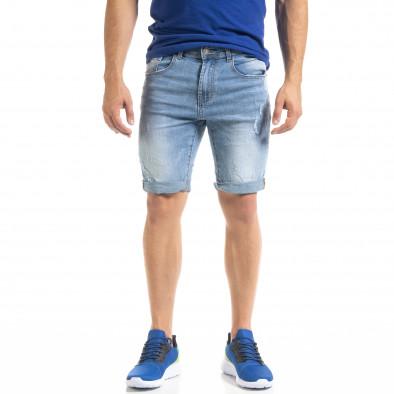 Мъжки сини къси дънки с маншети it050620-10 2