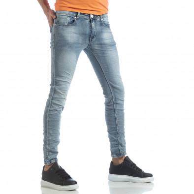 Мъжки Washed Slim Jeans в синьо it040219-13 2