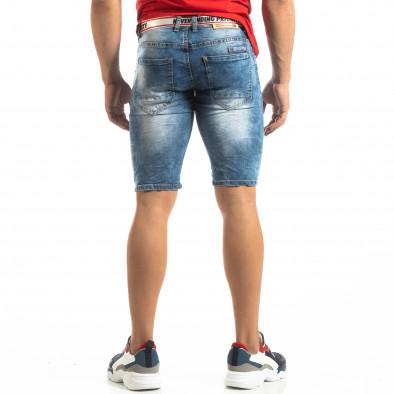 Мъжки намачкани къси дънки Slim-fit в синьо it150419-8 3