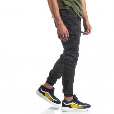 Черен мъжки панталон с ципове на джобовете it170819-2 2
