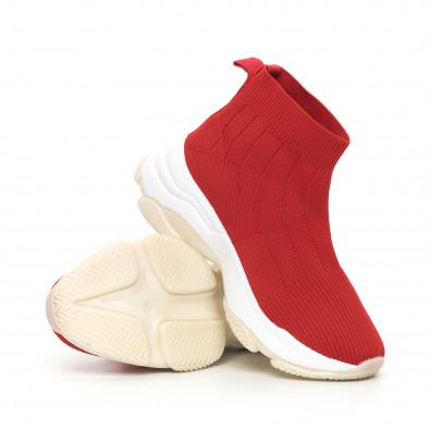 Плетени червени дамски маратонки Slip-on it130819-48 4
