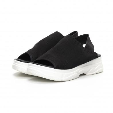 Дамски черни сандали тип чорап it240419-52 3
