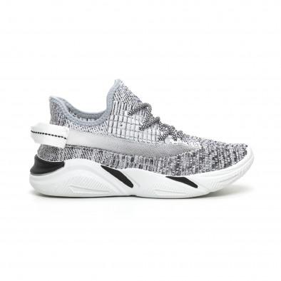 Плетени мъжки сиви маратонки с мрежа it260919-5 3