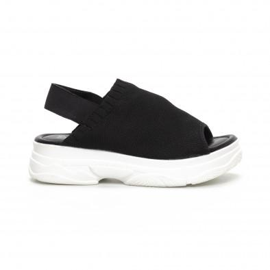 Дамски черни сандали тип чорап it240419-52 2