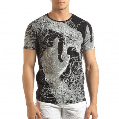 Мъжка тениска в черно с фигурален принт it150419-75 2